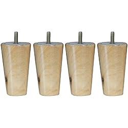 4pcs Sillas de Gran Tamaño Patas de Sofá Silla Tabla Mesa Eucalipto Maciza Forma de Cono Muebles Madera - Natural, 4 * 6 * 10cm