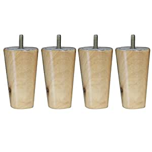 "4pcs 4"" 5"" 6"" 8"" Height Cone Shape Eucalyptus Solid Wood Furniture Sofa Legs - Natural, 4inch H"