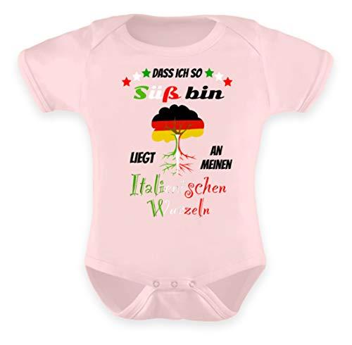 Shirtee Italienische Wurzeln - Baby Body -6-12 Monate-Puder Rosa