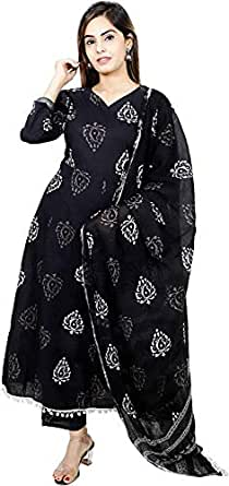 Kurtivala's Cotton Fabric Salwar Suit | Salwar Suit With Dupatta | Ethnic Wear For Women | Latest Design Kurti With Palazzo | Plazzo Pant | Printed | Black | 38