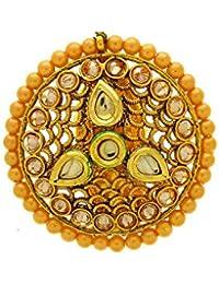 Anuradha Art Round Shape Designer Studded Kundan & Golden Pearls Brooch /Sari Pin For Women/Girls