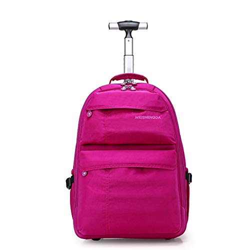 21-Zoll-Trolley-Rucksack Wasserdichter Rollrucksack auf Rädern für Männer und Frauen Business Laptop Travel Backpack Bag,Red