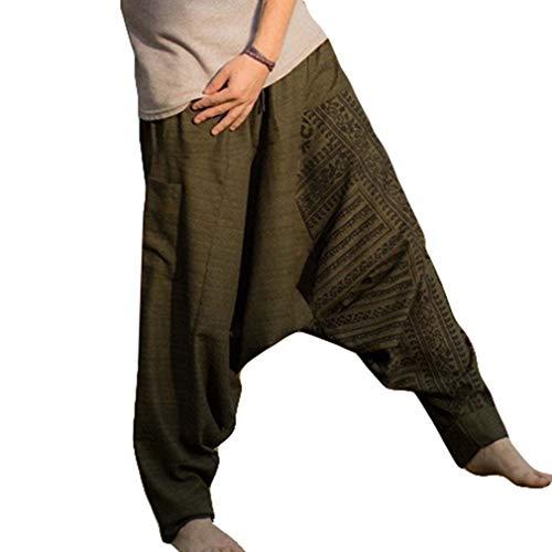 Haremshose Herren Yoga Hose und Hippie Hose Männer Bequeme Elastische Taillenhose mit Kordelzug Lose Fit Casual Böden Hosen Große Größen M-3XL