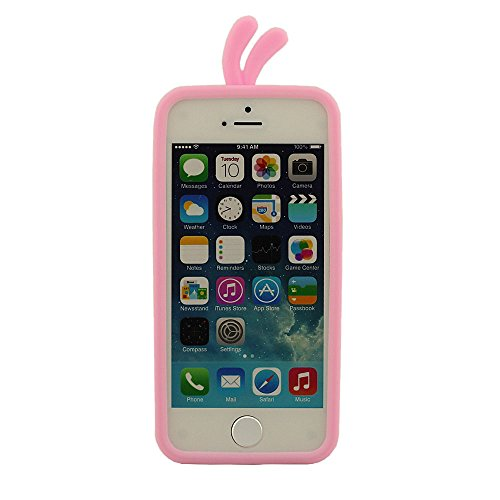 Silicone Type iPhone 5S Coque, Housse de Protection pour iPhone 5C, Charmant Canard Conception Coque de protection + Gratuit Silicone Support Outil, Compact Coque Rose