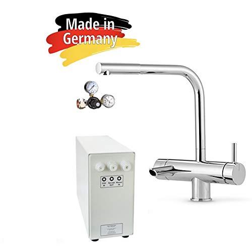 Sprudel aus dem Wasserhahn! Untertisch-Trinkwassersystem - Trinkwassersprudler Sprudel-Lok - NEUHEIT! inkl. 3-Wege-Zusatzarmatur MORA und Anschluss-Set. Made in Germany