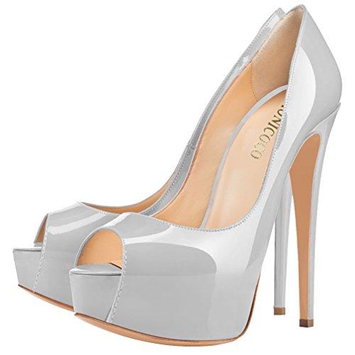 MONICOCO , chaussures compensées femme - Grau Lackleder