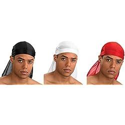 Bandana Foulard US Durag - 15 Couleurs Différentes - Rap USA du rag - Airsoft Paintball Hip hop Moto Biker Musculation Cuisine (91# LOT Noir + Blanc + Rouge)