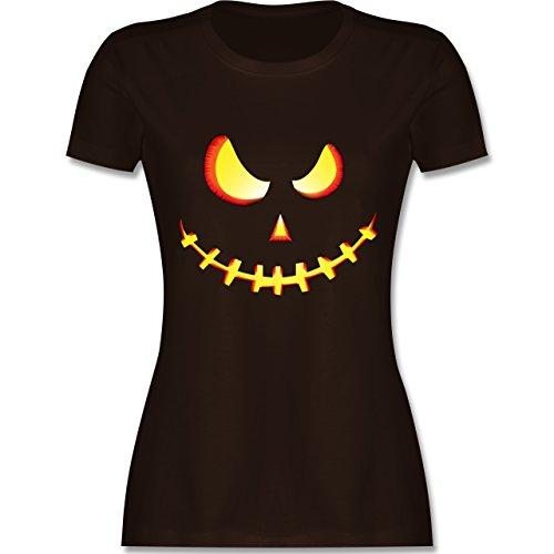 Halloween - Gruseliges Kürbis-Gesicht - L - Braun - L191 - Damen Tshirt und Frauen T-Shirt