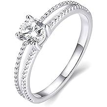 Amor Eterno Mujeres Boda Compromiso Anillos 18K Oro Plateado Cz Diamantes Marcas Solitarias Princesa Corte Promesa