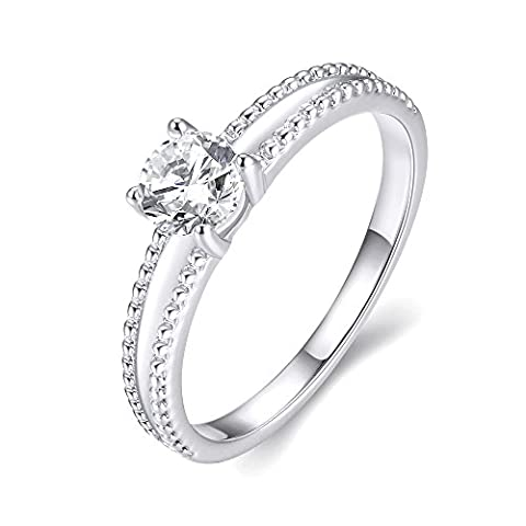 Eternity Love Wedding Bands Women's Rose/White Gold Plated Solitaire CZ Crystal Engagement Rings Best Promise Rings Anniversary Wedding Bands for Lady Girl,