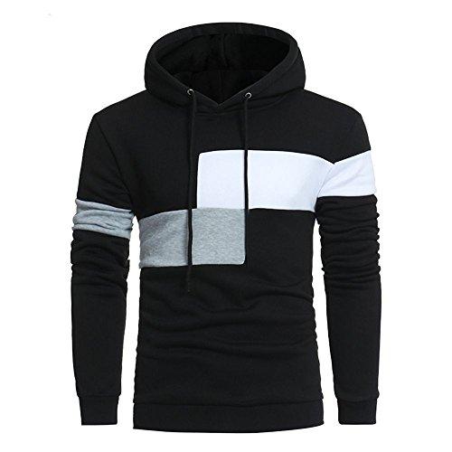 (UJUNAOR Oktoberfest Männer Langarm Hoodie Nähte Mantel Jacke Outwear Sport Tops Mit Kapuze(Schwarz,CN M))