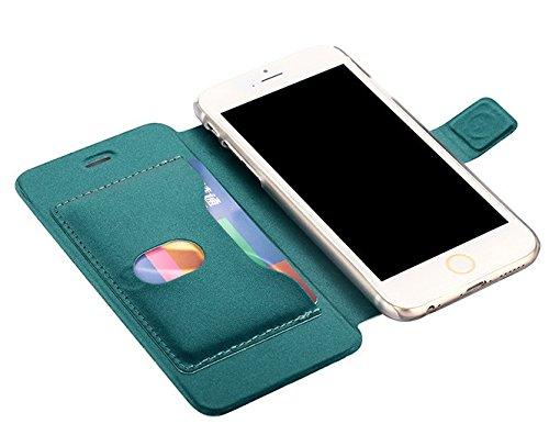 """iProtect Apple iPhone 6 (4,7"""") 6s Hülle im Bookstyle mit Magnetverschluss und Standfunktion Kunstleder Wallet Case schwarz Bookstyle Metallic Grün"""