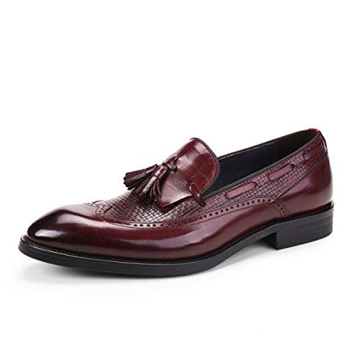 GRRONG Mode Chaussures En Cuir Pour Hommes Daffaires Pointu Tenue Brown brown