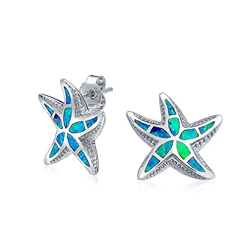 Nautico Hawaiana Di Stelle Marine Blu Creato Intarsio Di Opale Stella Marina Orecchini A Lobo Per Donne Argento 925