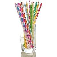 YULAN 4 PC jugo desechable bebida fría arte mezclado creativo papel bebida color beber paja cantidad de 100 Cake Pop Sticks (Multi-color)