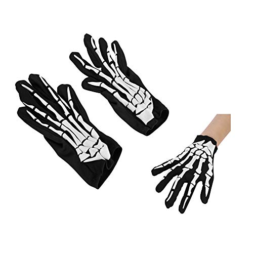 Skeleton Gloves Skull Bone Fingered Gloves Halloween Ghost Gloves Claws Black Funny Dress Cosplay Stage Show Props for Festival Costume Party Clubs KTV Bar One Size for Adults and Kids Breathable