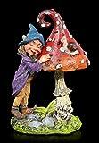 Figuren Shop GmbH Fantasy Gartenfigur - Pixie Elfe mit Pilz und Schnecke | Dekofigur, Handbemalt