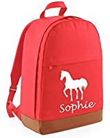 PERSONALISED Coral and Tan Horse Design with name Freshman Backpack (PLEASE GO TO ADD GIFT OPTIONS....ENTER NAME IN FREE GIFT MESSAGE BOX....AND SAVE)