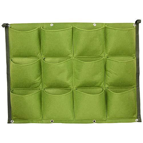 Jeffergrill - 12 bolsillos verticales para colgar en la pared, para jardín, exterior, plantas, jardinería, jardinería, jardín, colgante, bolsillo (60 x 80 cm)