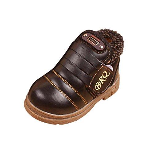 Bluestercool Bébés filles garçons d'hiver bottes de neige Chaussures en cuir (23=3-4 ans, Noir)