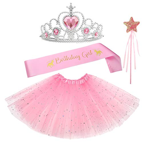 llrock Geburtstag Mädchen Schärpe Fee Zauberstab Party Gastgeschenke Dress up Tiara Tütü Geburtstag Geschenke für Prinzessin Mädchen (Rosa) ()