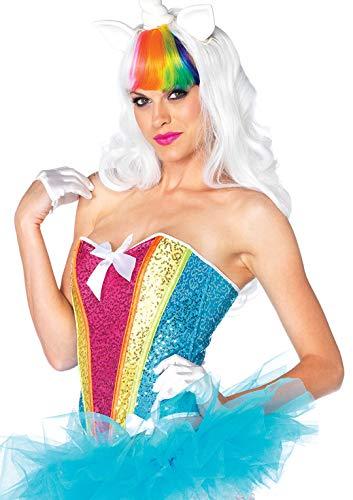 LEG AVENUE 2669 - Regenbogen Pailletten Corsage, Größe S, multicolor, Damen Karneval Kostüm - Sexy Regenbogen Kostüm