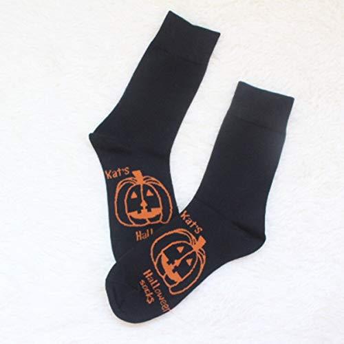 Jinxuny Kürbis-Muster-Spaß-Neuheit-beiläufige Socken Bequeme leichte atmungsaktive Socken für Festival Halloween und andere Festival-Frau/Mann (Color : Black) -