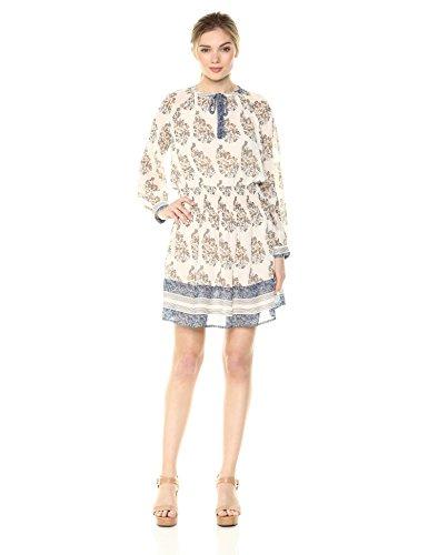 Lucky Brand Damen Drop Waist Printed Dress IN Natural Multi Kleid, Naturfarben/Mehrfarbig, X-Klein -