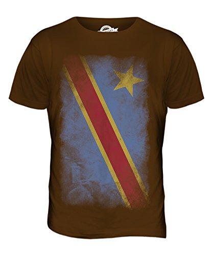 CandyMix Demokratische Republik Kongo Verblichen Flagge Herren T Shirt Braun