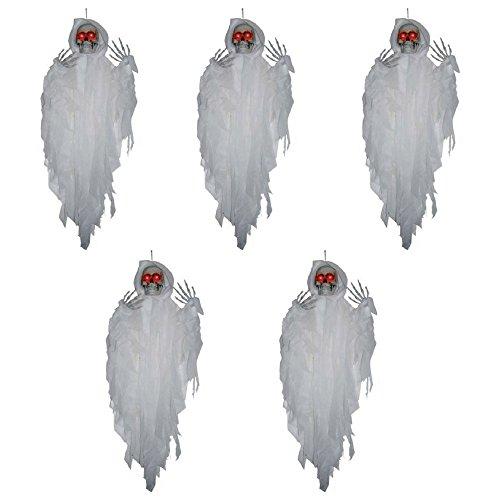 Fun Express Halloween-Dekoration, zum Aufhängen, mit weißem Sensenmann, 1,2 m, 5 Stück