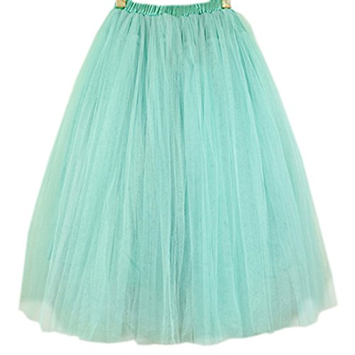 Womens Fashion 5 Layers Princess Skirt Petticoat Knee Length Dress Green
