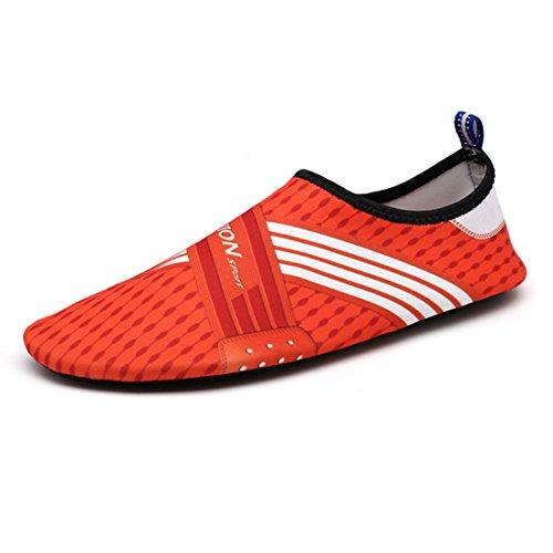 DorkasDE Unisex Strandschuhe Aquaschuhe Aqua Schuhe Atmungsaktiv Schwimmschuhe Surfschuhe Wasserschuhe Badeschuhe für Damen Herren Kinder Rot