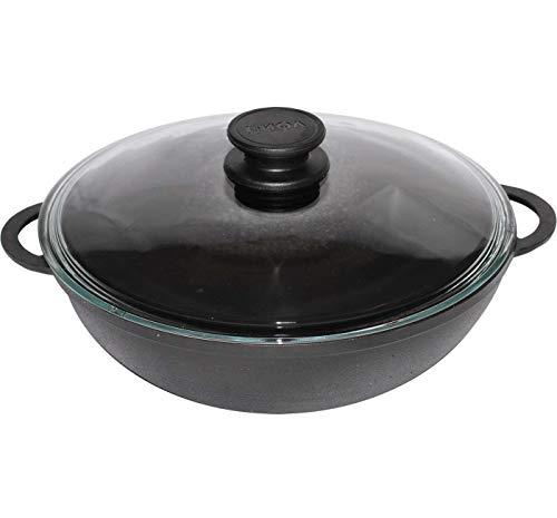 BIOL Gusseisen Wok-Pfanne 5 Liter 30 cm mit Glas-Deckel - Induktion - für gesundes Kochen Kasan Kazan (Gusseisen Kochen)