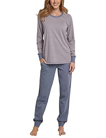 Schiesser Damen Zweiteiliger Schlafanzug Anzug Lang Grau (Graublau 209), 40