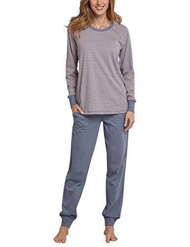 Schiesser Damen Zweiteiliger Schlafanzug Anzug Lang Grau (Graublau 209), 38