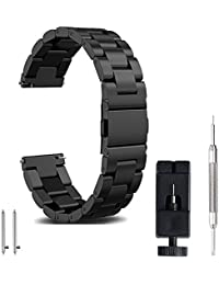22mm watch band, FashionAids Samsung Gear S3 strap band Stainless Steel Metal Replacement Band Bracelet Strap + Tools + Pins for Men's Women's Watch, Black 22mm