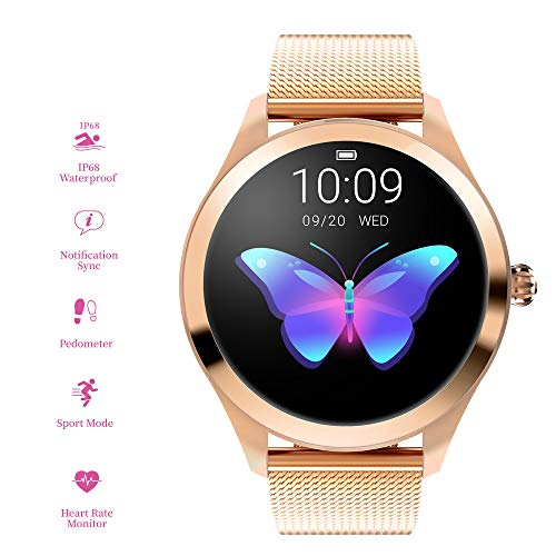 RanGuo Bluetooth Smartwatch für Damen, Outdoor Sports IP68 wasserdicht Intelligente Armbanduhr für Android und ios System, Support-Anruferinnerung und Nachrichtenerinnerung (Stahlband, Gold)