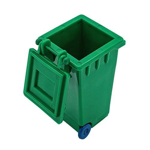 Odoria 1/12 Miniatur Mülltonne mit Deckel - Kunststoff Grün und Feengarten Deko Puppenhaus Dekoration Zubehör