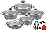 Granite Special Cookware 17 pcs Cooking pot and Shallow Pan Casserole Set, Dessini® Made In ITALY (Grey)