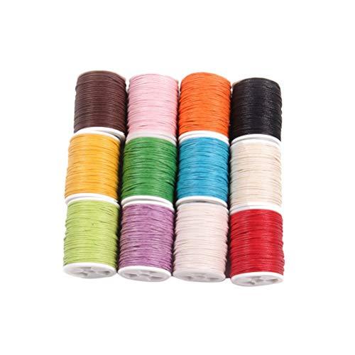 SUPVOX 12 stücke 10 mt Gewachste Baumwolle Garn Cord Strickgarn Häkeln Garn Big Ball Solids Garn für Häkeln Stricken und Crafting DIY Pullover Decke Schal - Klobige Baumwoll-pullover