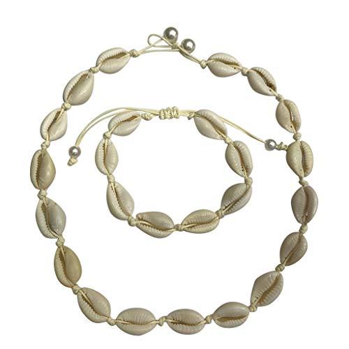 Fannyfuny Halskette Damen Kette Armband Frauen Retro natürlich Frisches Wasser Shell Halskette Armband verstellbaren Sommer böhmisches Stil Kette Damen Geburtstagsgeschenke Geschenk für Paare (Ohrringe Claires Set)