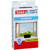 Tesa Insect Stop - Malla mosquitera Standard para ventanas, 1,3 m x 1,5 m, color negro