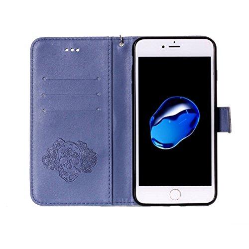 Buona Casa- Per iPhone 7 Crazy Horse Texture cranio stampa orizzontale cassa in pelle di vibrazione con supporto e slot per carte e portafoglio e cordino ( Color : Pink ) Dark blue