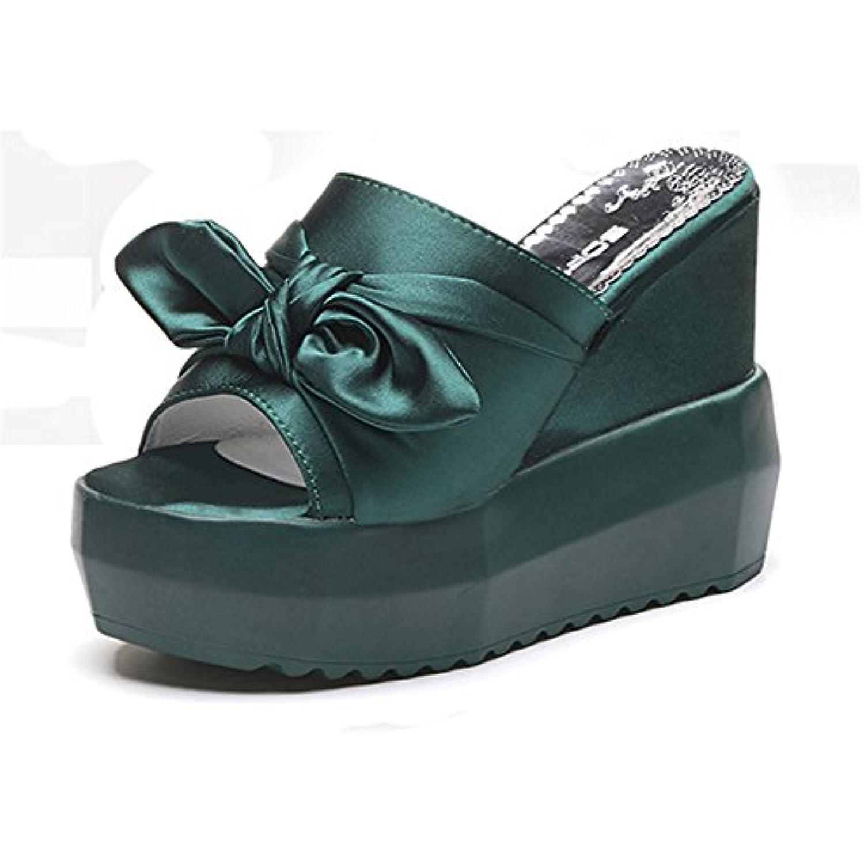 Good Night Satin Satin Satin couleur satin Bowknot Wedges Pantoufles Non-dérapant Super haute glissade sur sandale Pour femmes... - B074QPZL7F - 4a56be