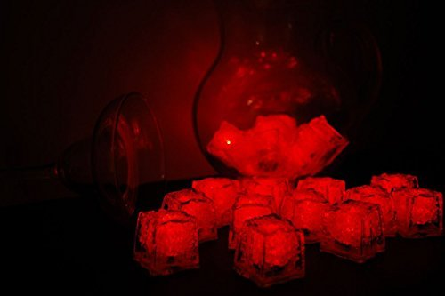 12PCS [luci LED lampeggiante sommergibile] Multicolore liquido sensore cubetti di ghiaccio luce led luce bere (Food Grade Cera)