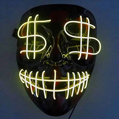 WSCOLL Halloween EL Maske Purge DJ Party Leuchten Masken Masken Wahl Mascara Kostüm Glow In Dark 10 Farben zur Auswahl - Kind Leuchten Batman Kostüm