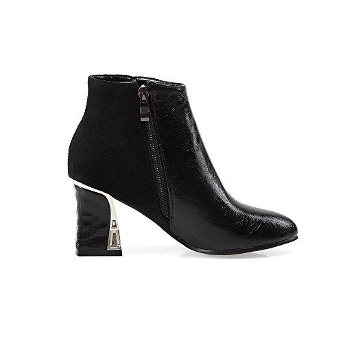 VogueZone009 Damen Rein Blend-Materialien Mittler Absatz Reißverschluss Rund Zehe Stiefel, Blau, 43