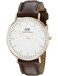 Daniel Wellington - 0511DW - Bristol - Montre Mixte - Quartz Analogique - Cadran Blanc - Bracelet Cuir Marron