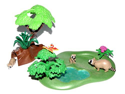 - Waschbärhöhle - Waschbärenmutter und 2 Kinder - Bäume See Höhle Bau ()