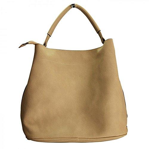 Shopping-et-Mode - Sac à main en simili-cuir beige souple très classe avec pochette de soirée amovible - Beige, Simili-cuir